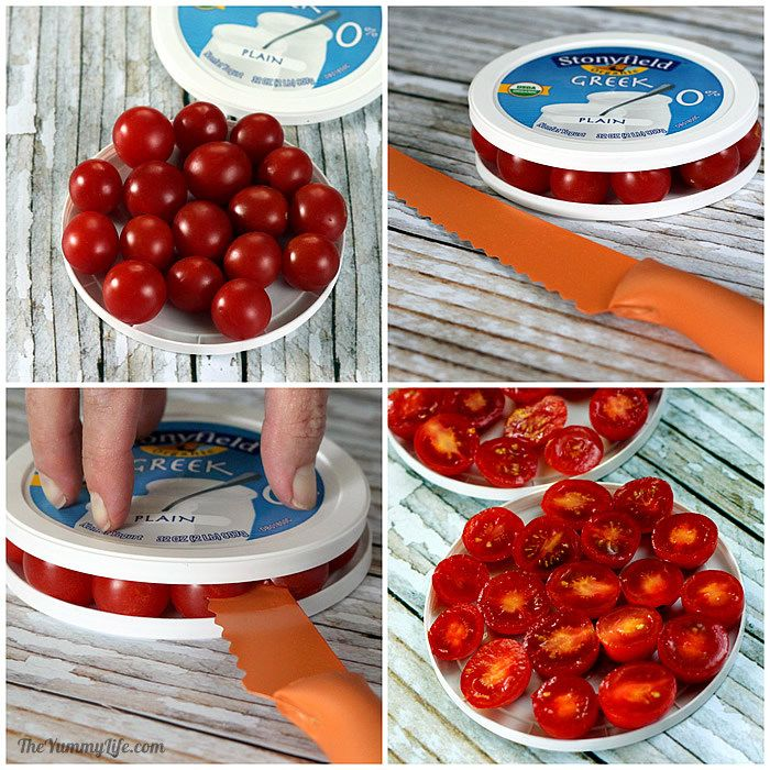 Cutting cherry tomatoes using yogurt plastic lids
