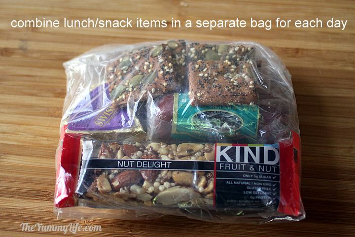 Lunch and snacks for backpacking