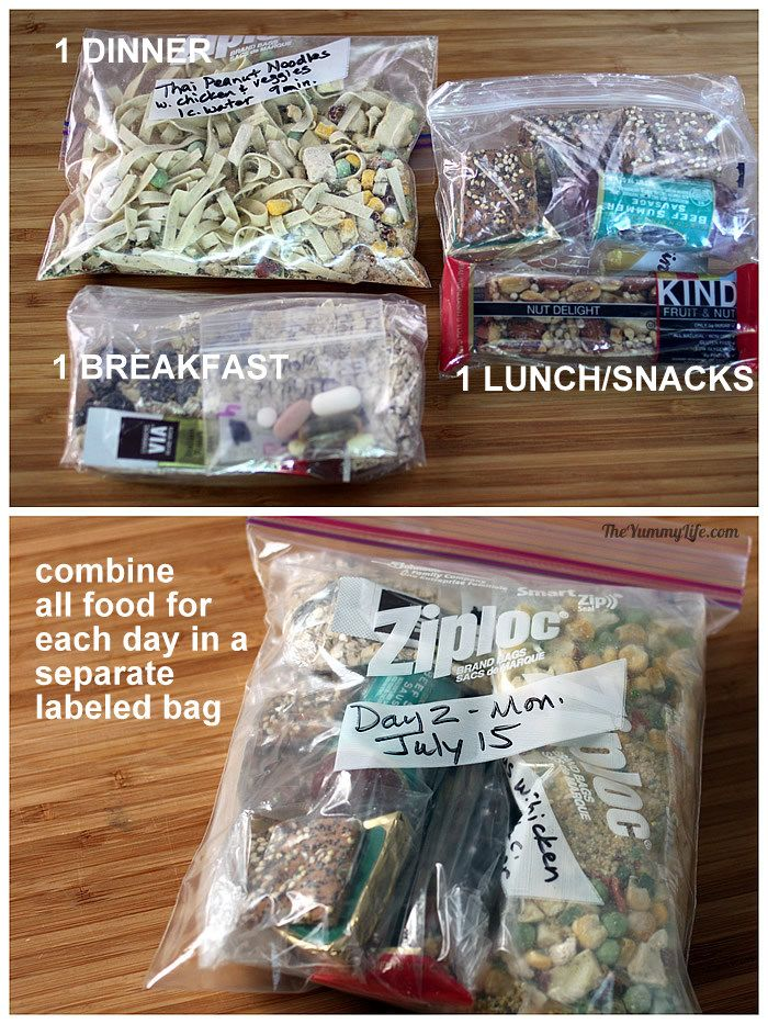Organizing Backpacking Food