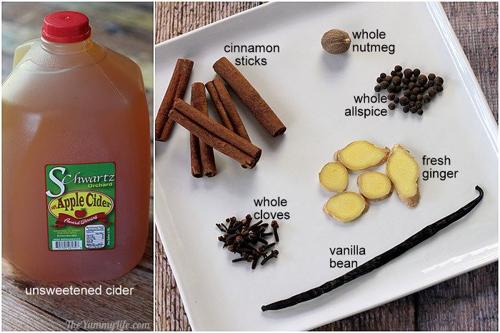 Ingredients for apple cider syrup