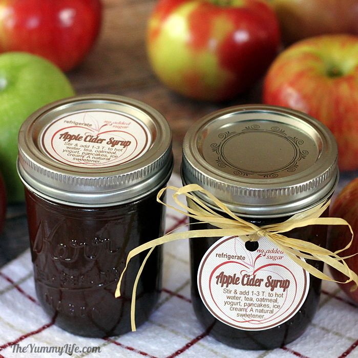 Labeled Apple Cider Syrup Jars for gifts