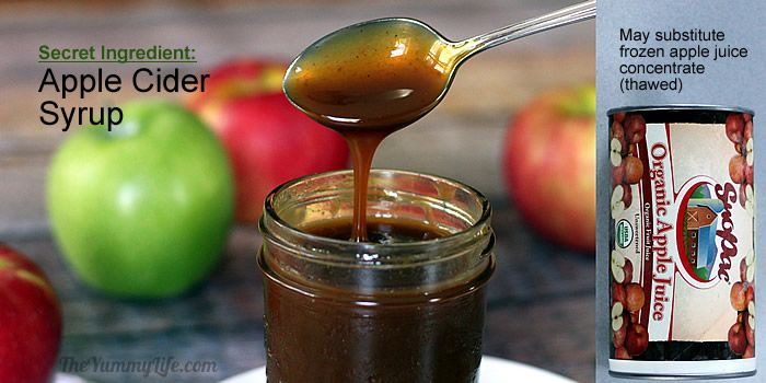 Apple Cider Syrup is a secret ingredient in Gooey Whole Wheat Apple Bars.