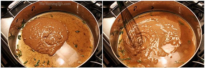 Adding peanut sauce to Asian Peanut Noodles | The Yummy Life