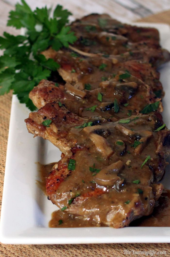 Platter of Skillet Pork Chops with Mushroom Gravy | The Yummy Life