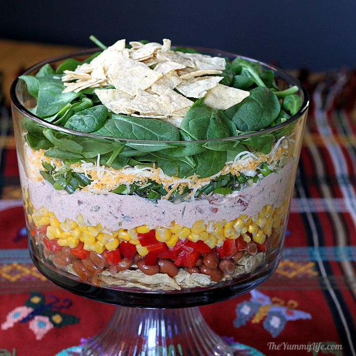 Healthy Make Ahead Mexican Layered Spinach Salad