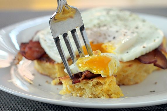 Breakfast layered on top of a corn cake--it's easy and delicious and has endless variations.