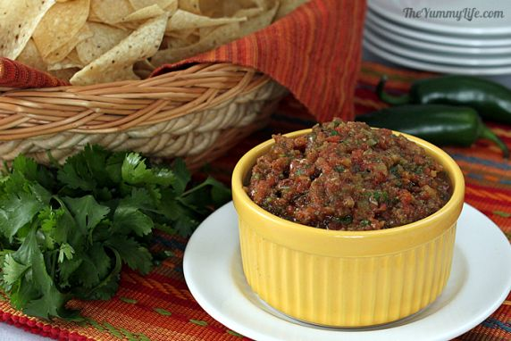 This salsa has the deep flavor of roasted chiles and tomatoes, but can be prepared in only 10 minutes. Recipe can be easily halved for a smaller quantity.