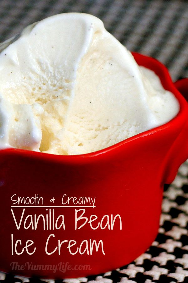 "This is based on a recipe from ""Jeni's Splendid Ice Creams at Home"" with simple tips & surprise ingredients that give it a silky smooth texture seldom found in homemade ice creams. From TheYummyLife.com #vanillabean #icecream #jeni's #theyummylife"