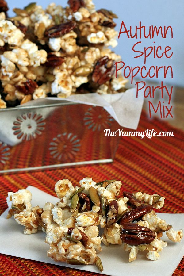 Pumpkin pie spice, maple syrup & nuts flavor this seasonal popcorn snack.  Perfect for fall entertaining, Halloween, & game day snacks. Also makes great party favors, classroom treats, and gifts.  From TheYummyLife.com