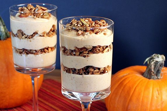 This is like having pumpkin pie for breakfast; except this parfait is low-fat and packed with nutrition. It's a perfect autumn breakfast.