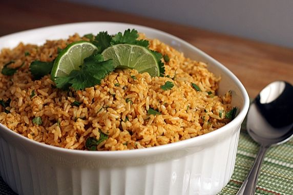 The vegetarian rice is a yummy side with Mexican food. It's also a nice complement to Indian dishes and curries.