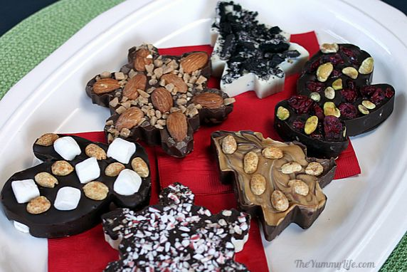 Six easy chocolate bark flavors in festive shapes for any occasion. Great for gifts and holiday parties.