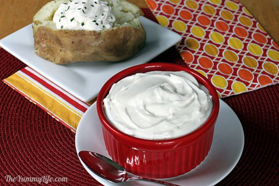 Simply blend two ingredients and the result is amazingly similar to sour cream. Serve a dollop on baked potatoes, chili, nachos, enchiladas, or stir into recipes in place of sour cream. Great for sour cream based dips.