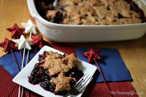 Cut the healthy, whole grain biscuit topping into shapes to celebrate any occasion. Made vegan with coconut milk & oil. Loaded with fruit and hearty whole grains.