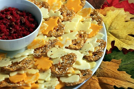 This is an easy, festive way to serve cheese at a fall party. Along with fresh cranberry ginger pear relish, it's a winner!