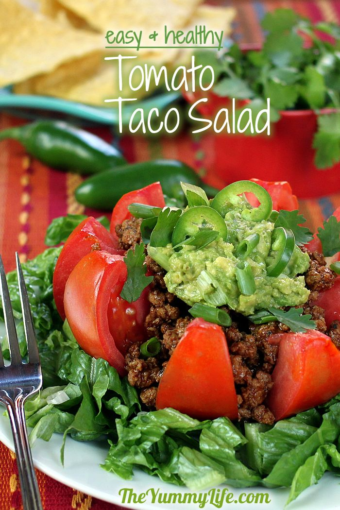 Ground turkey taco meat and fresh veggies make this high in protein, vitamins, and fiber. It's loaded with flavor, yet low in calories and carbs.