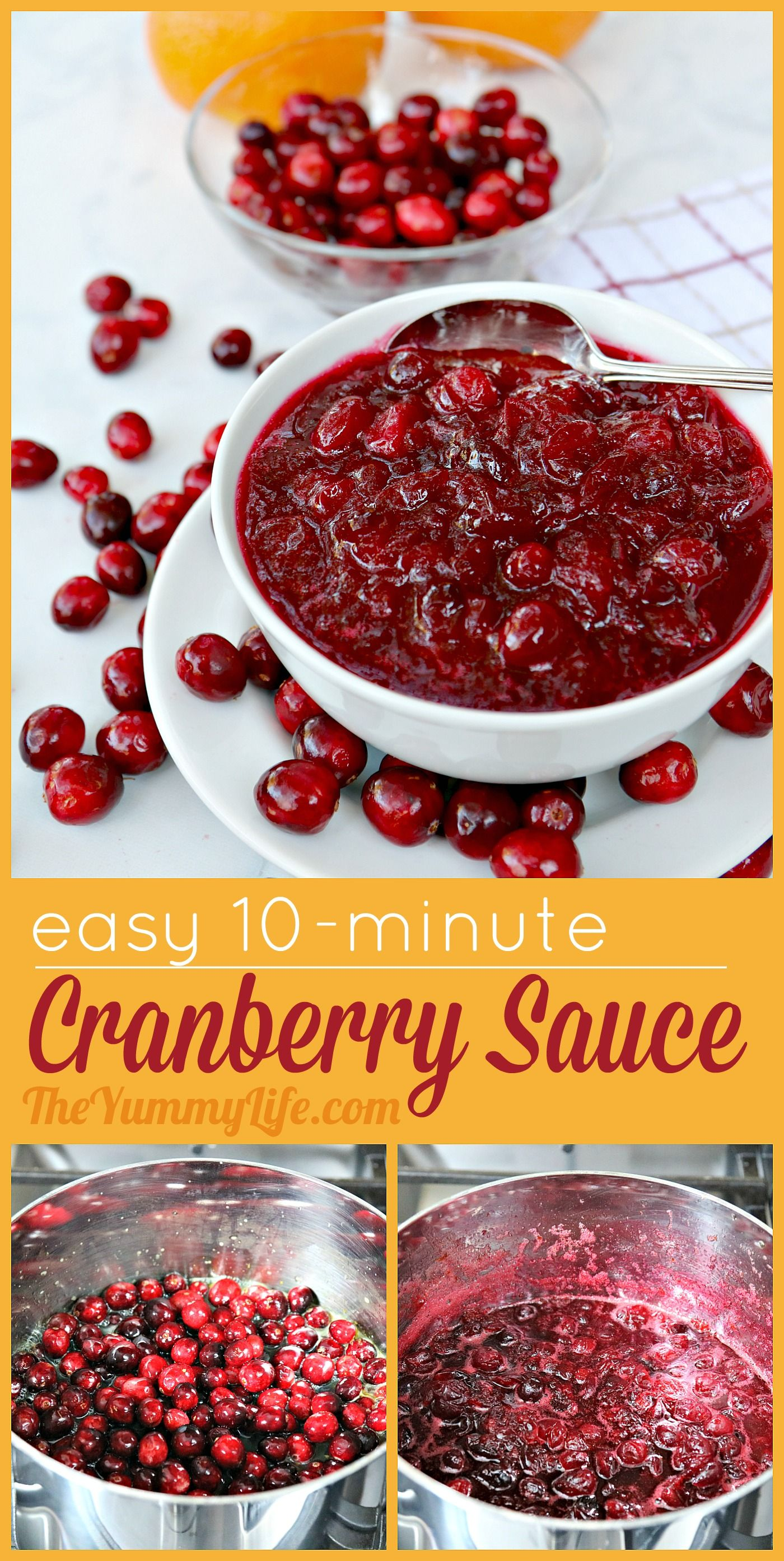 This classic recipe can be made start-to-finish in 10 minutes, so why buy the canned stuff? Leave it plain, or include a few of the optional add-ins like spices, nuts, or herbs. It's easy to customize this sauce for your individual preferences. It can be made ahead and refrigerated or frozen. A must on Christmas and Thanksgiving tables.  #CranberrySauce #Thanksgiving #Christmas #Easy #TheYummyLife