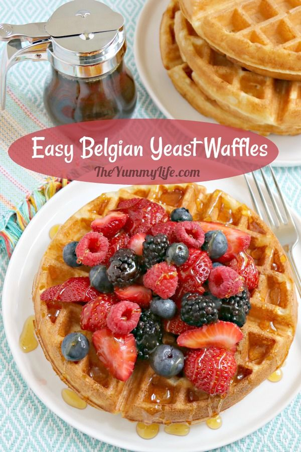 Waffle perfection--crispy on the outside, soft and airy on the inside. You can cook these waffles one hour after mixing the easy, one-bowl batter; but the flavor and texture are even better if you mix the batter the night before. It's so convenient to wake up to batter that is ready to go! From TheYummyLife.com #waffles #Belgian #yeast #breakfast #makeahead