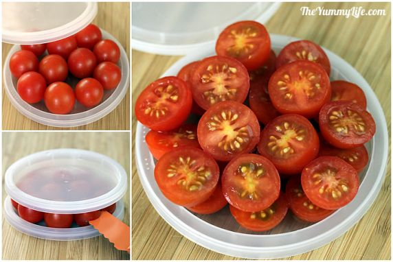 Using this simple kitchen hack, it only takes seconds to cut lots of cherry tomatoes, grapes, olives, or cherries.