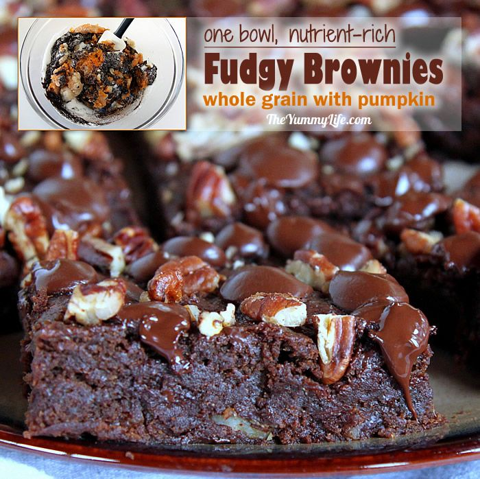 No butter, no oil, no eggs in these decadent, brownies that will satisfy any chocolate lover. Rich in antioxidants and vitamin A with pumpkin, whole grain flour, flaxseed and dark chocolate.