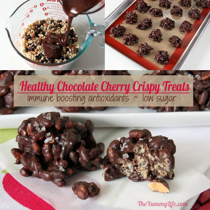 Healthy Chocolate Cherry Almond Crispy Treats. Move over Rice Krispie treats. These use brown crispy rice cereal; they taste amazing and are better for you. High in antioxidants, low in sugar, gluten free, easy no-bake, and 15-min prep.