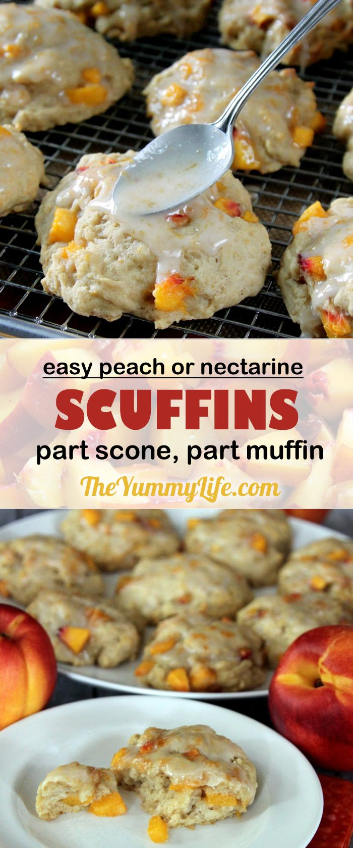 Peach or Nectarine Drop Scuffins are a cross between a scone and a muffin. Made with a quick, honey-sweetened, yogurt batter that is dropped in mounds on a baking sheet and ready in 30 minutes, start to finish. From TheYummyLife.com