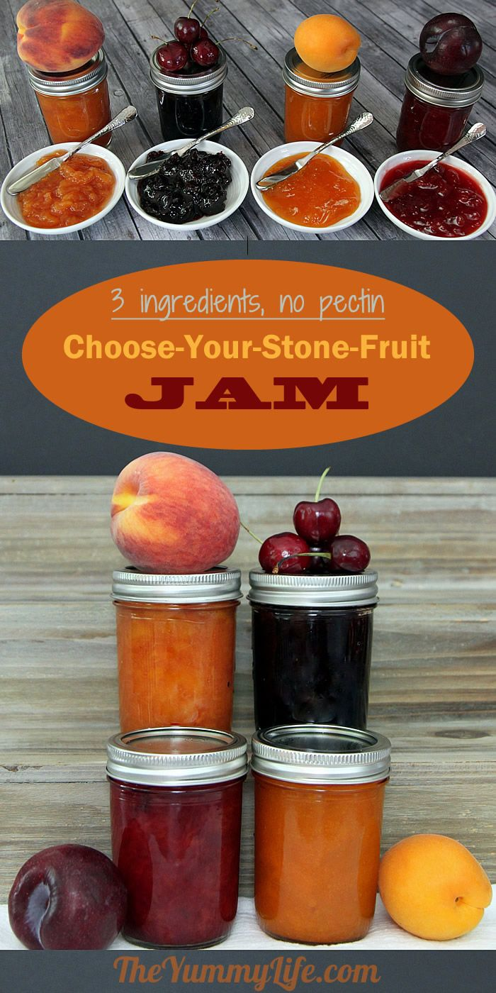 This simple 3-ingredient jam recipe works with any kind of fresh or frozen stone fruit, like peach, plum, apricot, and cherry. Freeze or can it. Printable labels are provided to turn jam jars into awesome gifts. From TheYummyLife.com