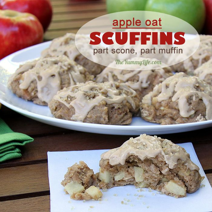 Whole Grain, Apple Oat Scuffins are a cross between a scone and a muffin. Sweetened with maple syrup and loaded with apple bits, the quick, yogurt batter is dropped in mounds on a baking sheet and ready in 30 minutes, start to finish. From TheYummyLife.com