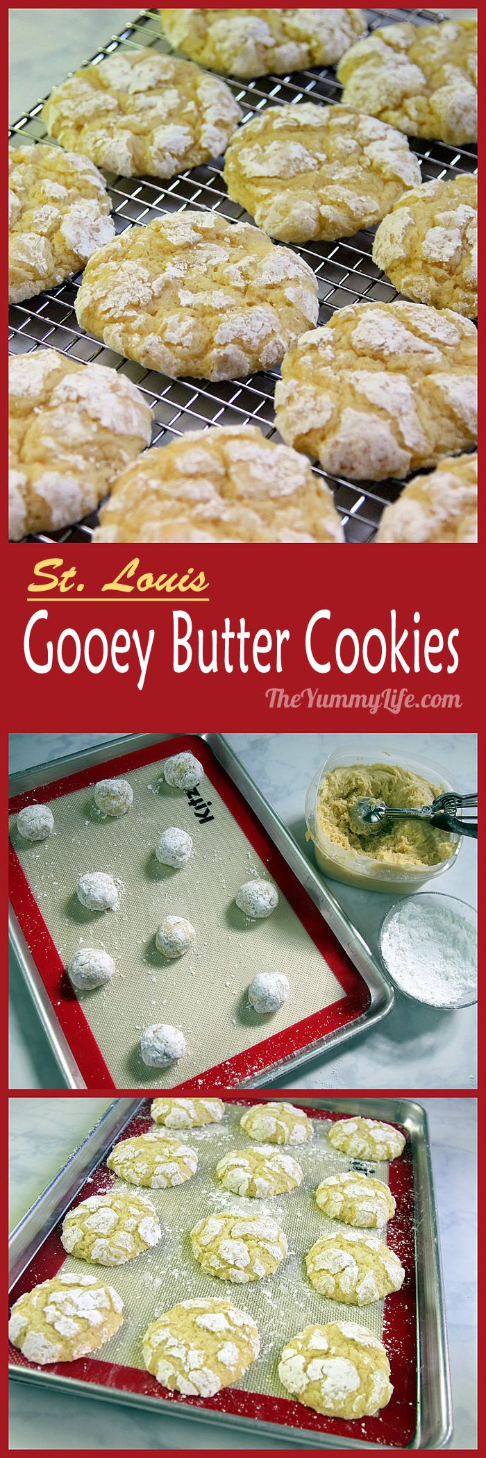 Inspired by the popular St. Louis Gooey Butter Cake, this recipe has the same taste in a melt-in-your-mouth soft cookie. From TheYummyLife.com