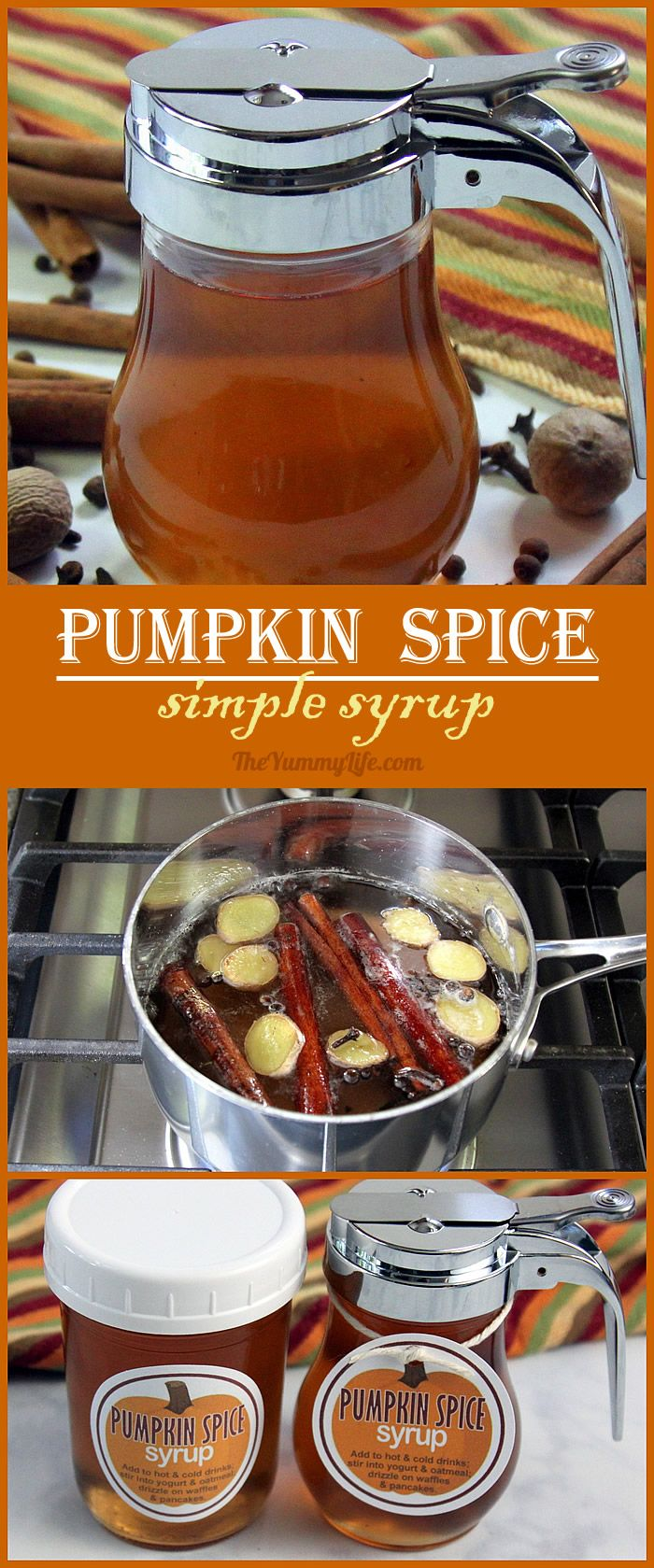 Pumpkin Spice Simple Syrup is so easy to make at home. Add this favorite flavor of Fall to hot and cold drinks--coffee, tea, cider, juice, cocktails. Stir it into yogurt and oatmeal. Blend it in smoothies and milk shakes. Drizzle it on waffles, pancakes or ice cream. Printable labels are provided for making gift jars. From The Yummy Life.