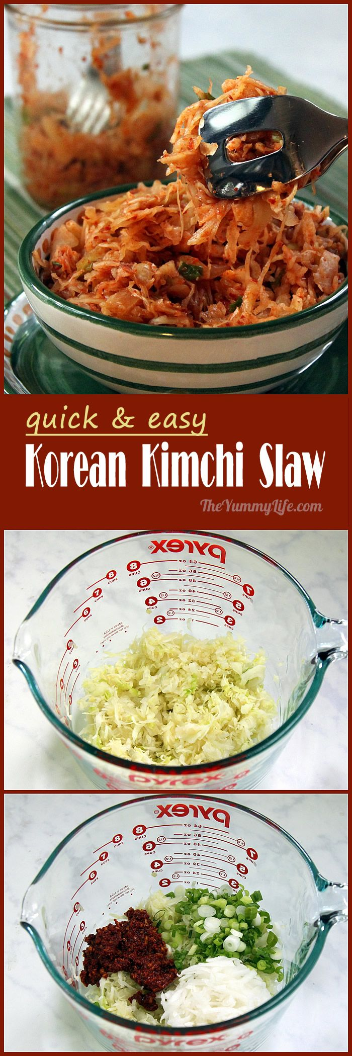 A spicy complement to Korean tacos, sandwiches, bibimbap rice bowls, or a side for any Korean meal; uses pre-shedded cabbage slaw for convenience. From TheYummyLife.com