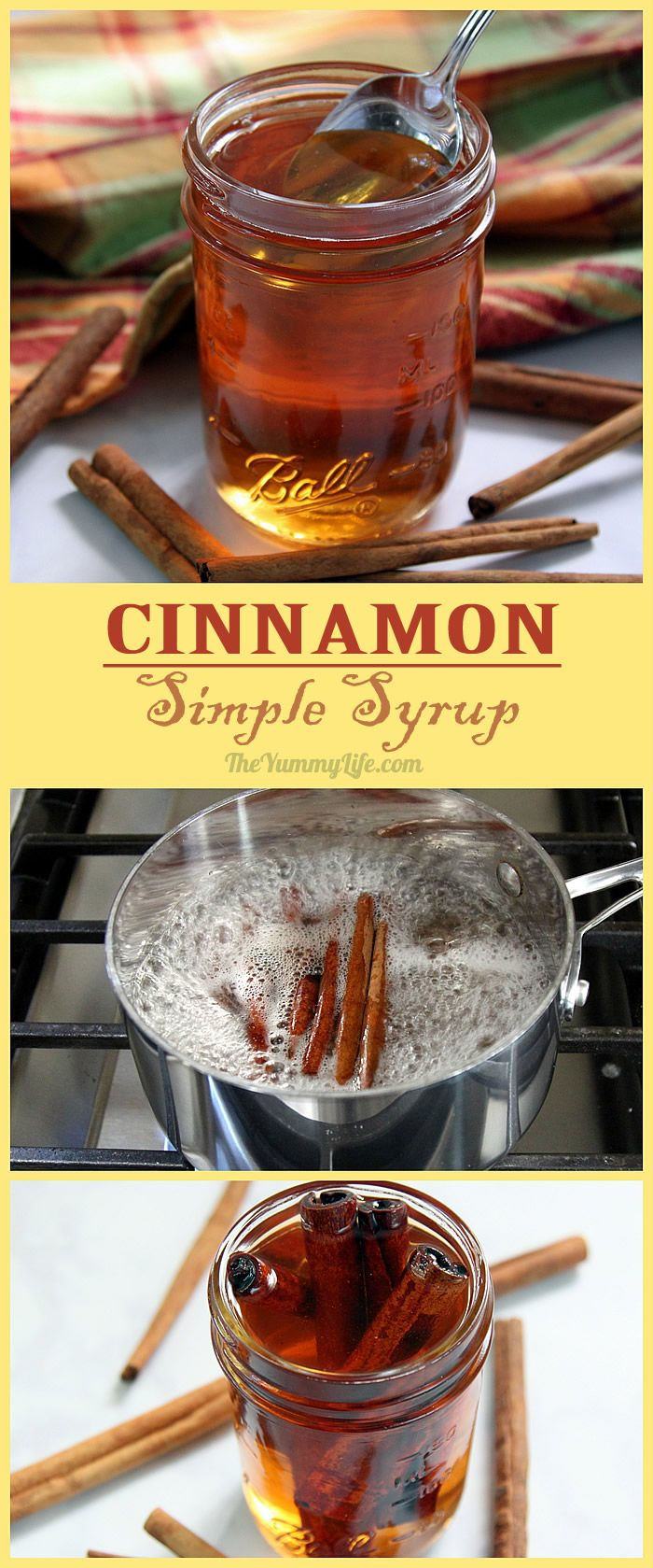 DIY Cinnamon Simple Syrup is so easy to make at home. Add this popular sweet flavor to hot and cold drinks--coffee, tea, cider, juice, sangria, cocktails. Stir it into yogurt, oatmeal, smoothies, and milk shakes. Drizzle it on waffles, pancakes or ice cream. From The Yummy Life.