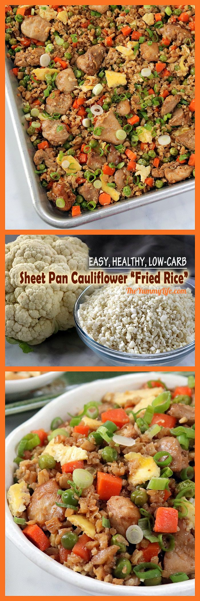 Swapping cauliflower rice for traditional rice cuts the carbs and calories dramatically. The taste and texture of this healthy, easy oven-baked recipe is amazingly similar to traditional fried rice. Easy to modify for vegetarian and gluten-free. From TheYummyLife.com