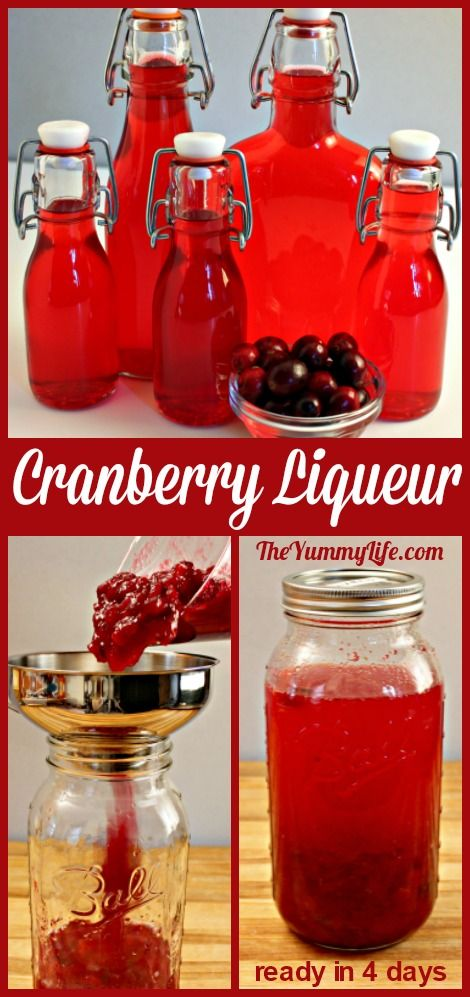 This beautiful, festive liqueur is easy to make and delicious for sipping by itself or as a cocktail mixer. Perfect for Thanksgiving and Christmas toasts. It makes a great holiday gift. #CranberrySauce #Liqueurs #Cocktails #CocktailMixer #HolidayGift #Beverages #DIYGifts #TheYummyLife