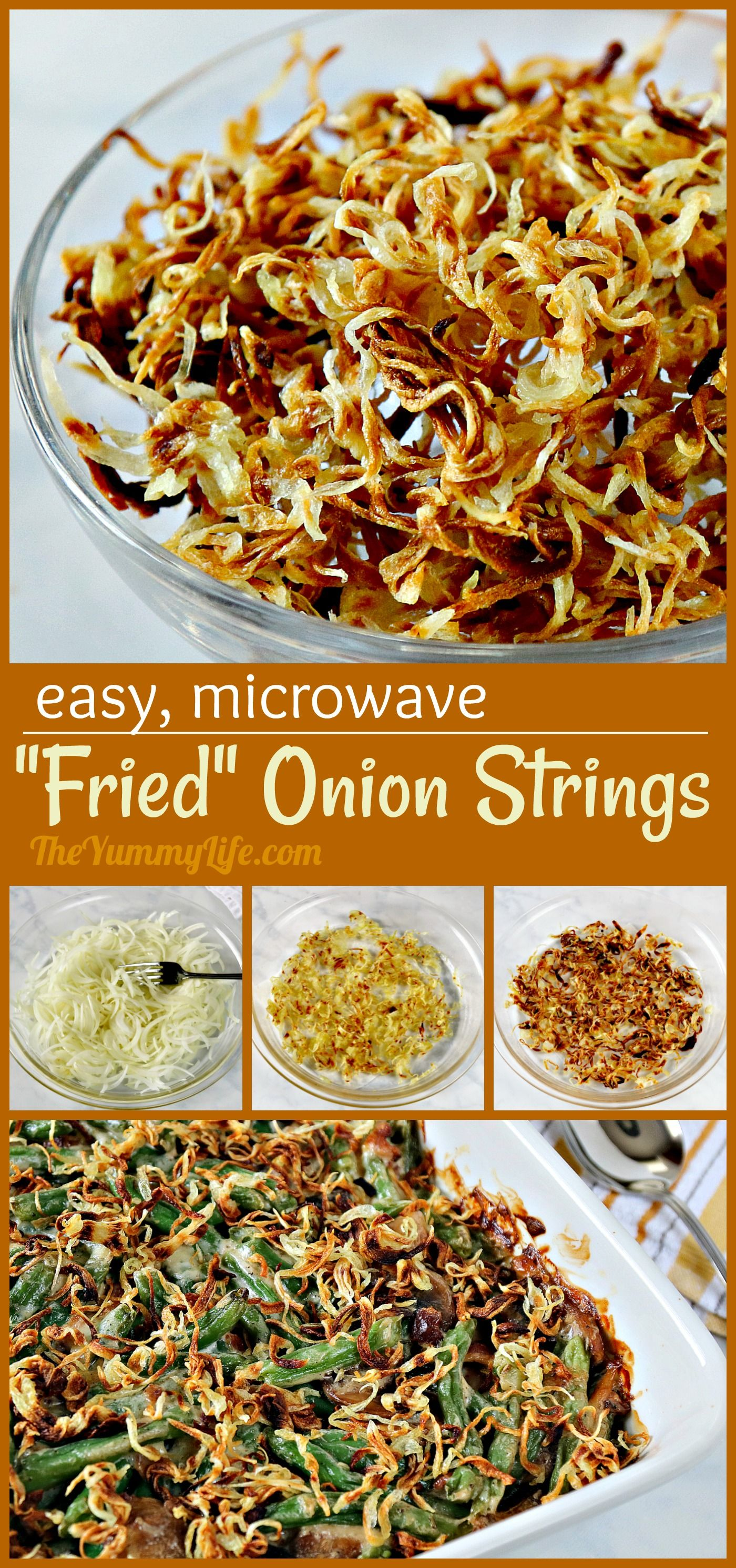 These easy, crispy onions are a snap to make in the microwave. They're a tasty, healthier option for topping green bean casserole. Try them sprinkled over roasted veggies or on sandwiches for some added crunch and flavor. #OnionStrings #FriedOnions #Topping #GreenBeanCasserole #Biryani #Thanksgiving