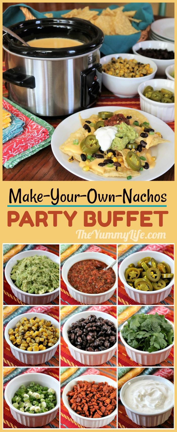 An easy menu for parties like Game Day and Cinco de Mayo that's always a crowd pleaser. Queso, chips and a variety of toppings are all you need. Make ahead convenience, too!  #Queso #Nachos #Dip #CheeseSauce #SlowCooker #CrockPot #MakeAhead #QuesoDip #GameDay #CincoDeMayo #Buffet #Party