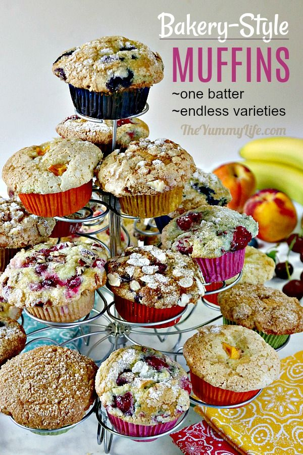 One delicious bakery-style muffin batter with endless varieties: Blueberry, Pumpkin, Banana, Cherry, Cranberry, Peach, Raspberry, Apple and more. The only muffin recipe you'll ever need. From TheYummyLife.com #bakerystyle #muffins #blueberrymuffins #fruitmuffins #pumpkin #peach #apple #cherry #raspberry #banana #minimuffins