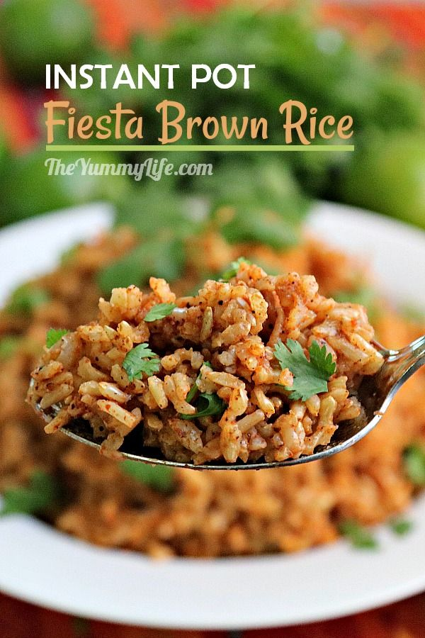 Serve this easy, healthy, flavorful rice as a side with beans or any Mexican meal. Add this rice to Mexican burritos/wraps or use as a base in rice bowls. From TheYummyLife.com #brownrice #Mexican #Instant Pot #healthy #vegan