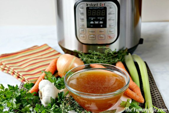 Nutritious Chicken or Turkey Bone Broth in An Instant Pot. Boost your health with this easy, flavorful homemade stock. It's a money saver, too! Drink the broth as a nutritious hot beverage or in any recipe calling for chicken or turkey broth. It makes a flavorful base for soups and gravies. From TheYummyLife.com #chickenbroth #turkeybroth #stock #nutritious