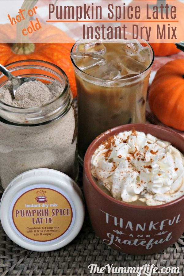 Just add water to this instant mix for a delicious Starbucks copycat hot or cold pumpkin spice latte. Both dairy and vegan options. Convenient for home, work, travel, dorm rooms and camping. Great for gifts; labels provided. From TheYummyLife.com #instant #latte #dry mix #Starbucks copycat #pumpkin spice # vegan #gifts #mason jars #printable labels