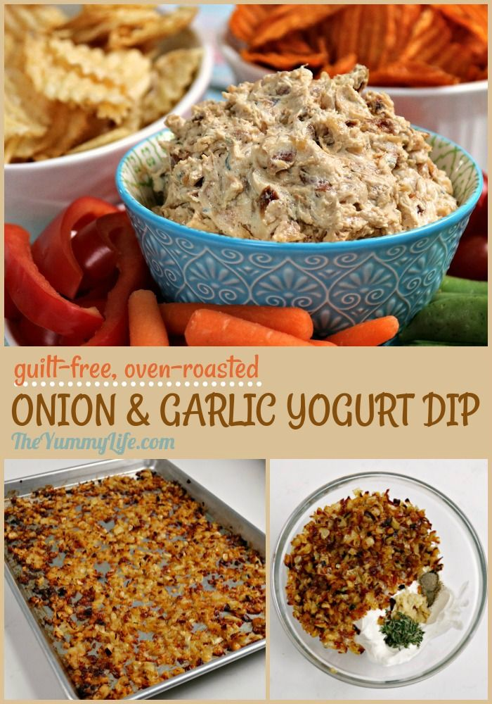 A guilt-free, healthy recipe for popular onion dip. Oven-roasting the onions and garlic results in amazing flavor! Serve as dip for chips or fresh veggies. Use as a tasty spread for bagels, sandwiches, & wraps, or a topping for baked potatoes.