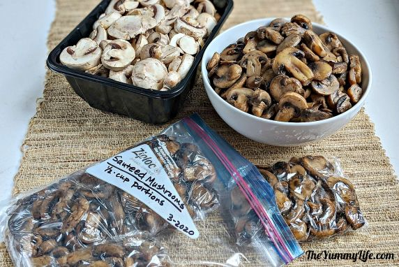 Saute', portion, and freeze mushrooms to save money and reduce waste. These are so convenient to have on hand to add to pizza, omelets, stir-fries, soups, pasta sauces, and more. From TheYummyLife.com #mushrooms #freeze #reducewaste