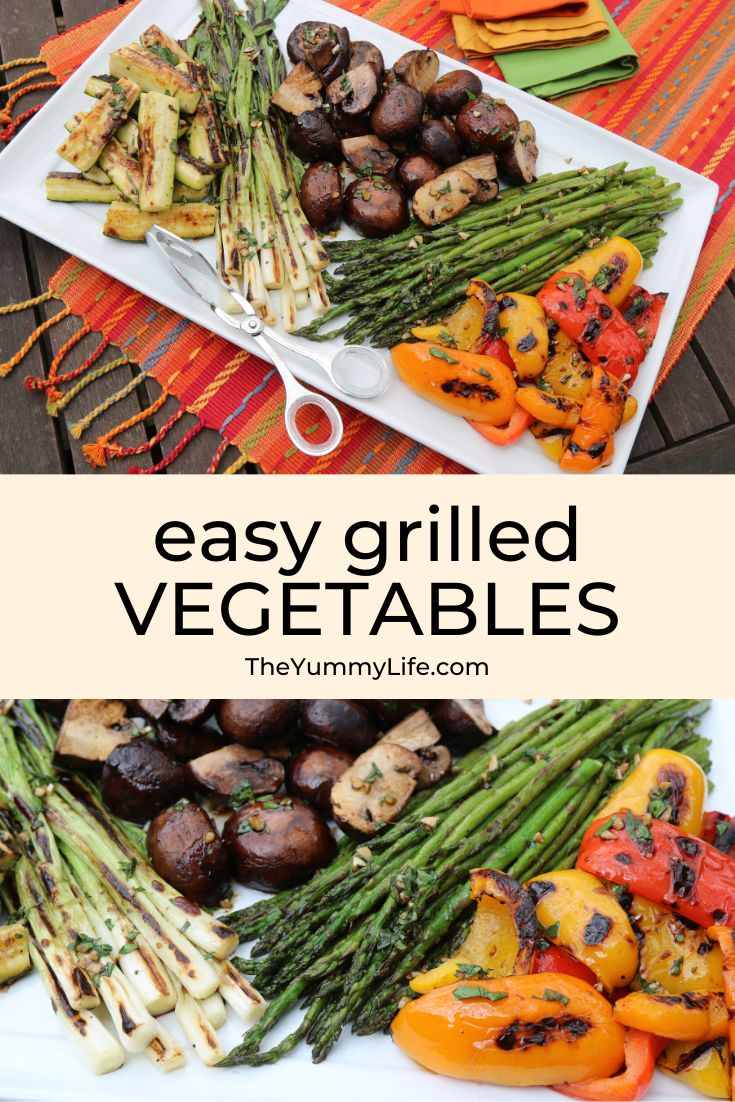 These flavorful, healthy vegetables are easy to grill and make a lovely, colorful presentation. You may serve them warm or at room temperature. Great for meal prep. From TheYummyLife.com #grilled #vegetables #mushrooms #asparagus #peppers #scallions #zucchini #vegan #healthy #mealprep