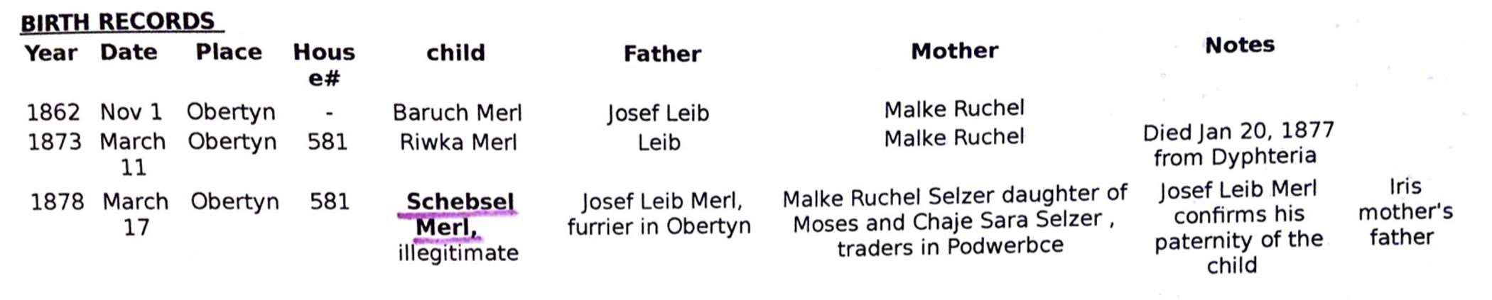 Schebsel's Birth Record