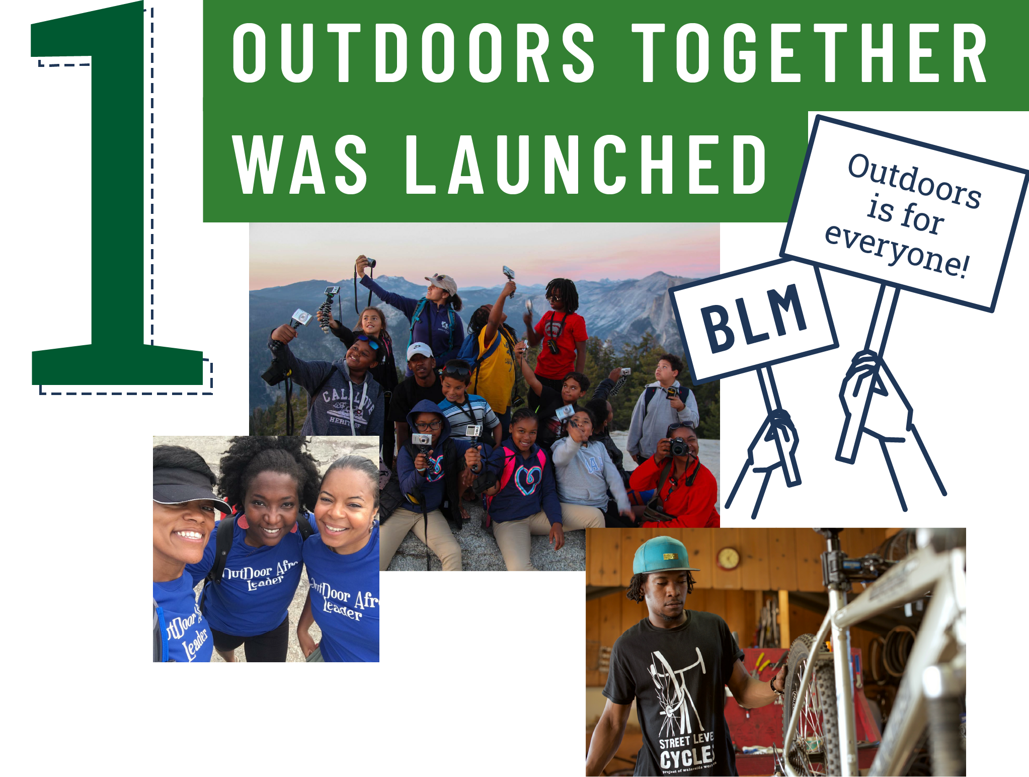 1: Outdoors Together was launched.