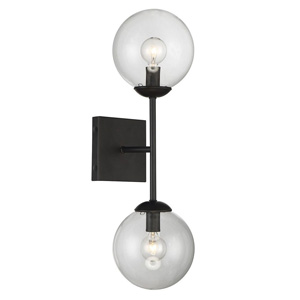 Trade Winds Angie 2-Light Wall Sconce in Black