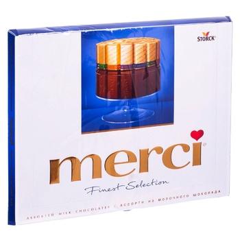 Конфеты Merci шоколадно-молочные ассорти 250г - купить, цены на Makro - фото 1