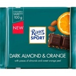 Ritter Sport bodom va apelsinli, qora shokoladi 100g