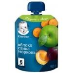 Пюре Gerber яблоко-слива-морковь 90г