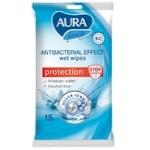 Влажные салфетки Aura антибактериальные 15шт